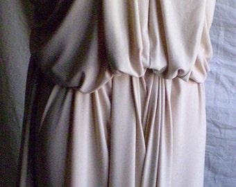 Cream Long Dress with V neck