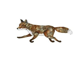 Fox Giclee Art Print Running Fox illustration 5x7