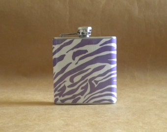 Purple and White Zebra Print 6 ounce Stainless Steel Girl Birthday, Sorority, Bridal Party TCU, Kansas State, LSU Gift Flask KR2D 5255