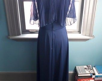Midnight blues... Vintage navy blue maxi dress with accordion pleated overlay/cape