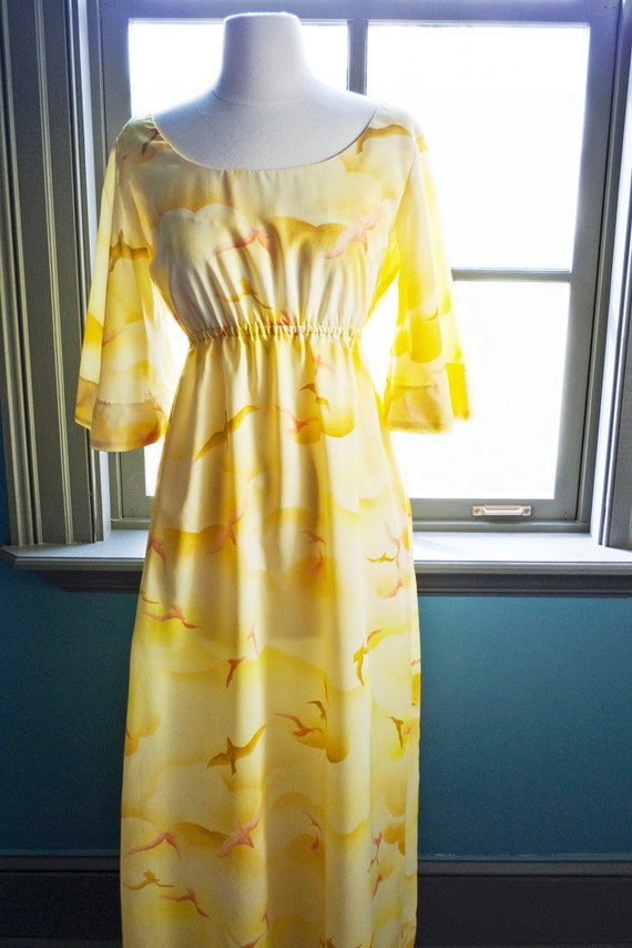 Glorious vintage YELLOW summer MAXI DRESS... floating birds and clouds