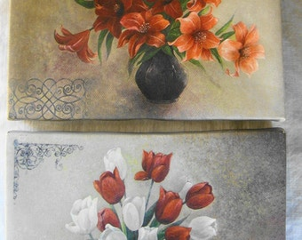 2 VINTAGE Canvas Paintings Red Roses & Poinsettias 2 Wall Art Holiday Wall Art