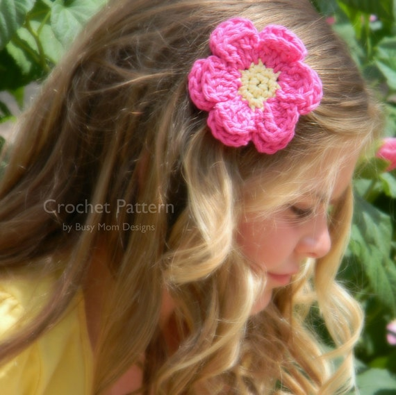 CROCHET PATTERN - Daisy Flower Applique - Great for hair clips, hats, headbands, and more - quick and easy - PDF 202 - Sell what you Make