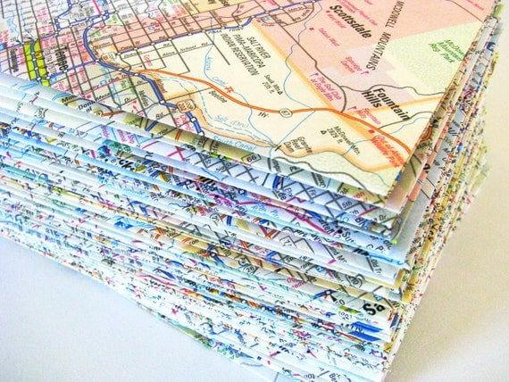 Upcycled Atlas Stationery Recycled US Map Envelopes Set of 10