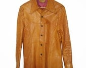 Vintage 1976 Leather Factory Jacket San Francisco M Medium Orange Brown 1776