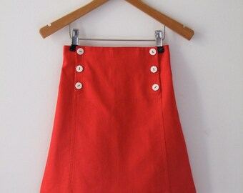 SKIRT AHOI, Red Children's Sailor Skirt with Front Flap Button Closure, Knee-length, Summer-Skirt, Linen-Cotton-Blend, Maritime Style,