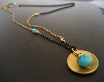 Sleeping beauty turquoise necklace with sterling silver and gold filled chain
