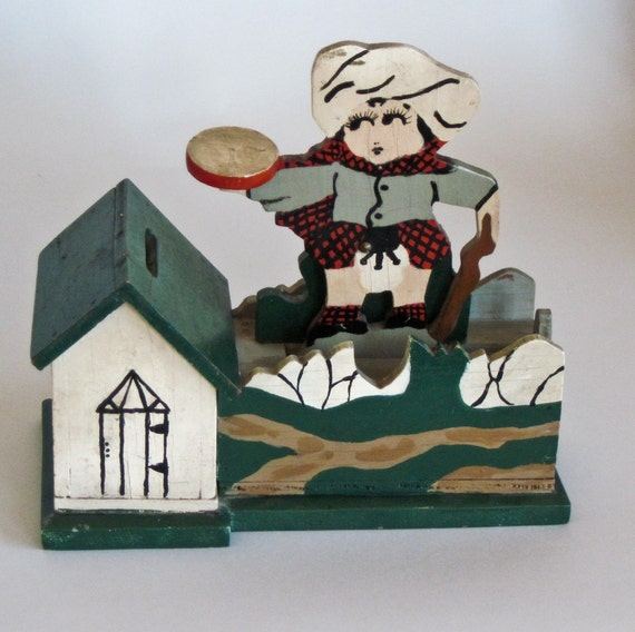 Wooden Bank Hand Crafted 1940s Collectible Bank