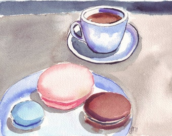 Watercolor Painting - Cafe Art - Macarons with Coffee Watercolor Art Print, 8x10