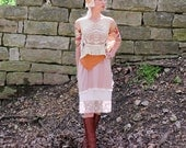 SALE OOAK Handmade Lace & Doilies Tank Top Camisole Upcycled Eco Friendly Victorian Style . Small to Medium