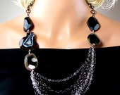 LP 585 Natural Black Faceted Agate And Chain Necklace