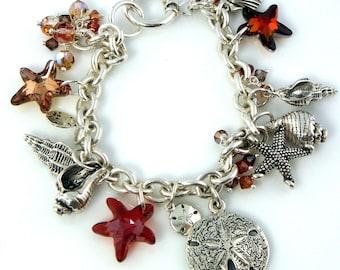 LP 99  Sterling Silver Sand Dollar,Seashell,Starfish and Swarovski Crystal Charm Bracelet