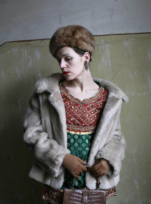 SALE - Mink Fur hat Light Brown Vintage 1960ties