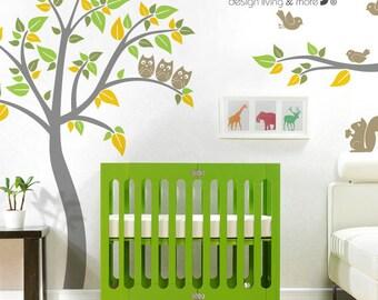 Tree Wall Decal with Birds - Owl Tree Wall Sticker - Baby Nursery Wall Sticker - 0040