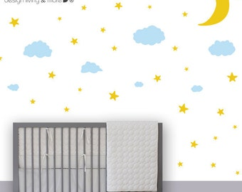 0086 - Moon Stars and Clouds Wall Decals - Night Sky Wall Stickers - Modern Nursery Wall Decals - Kids Wall Decals - Children Stickers