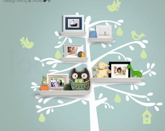 Shelving Tree Wall Decals with Birds - Baby Nursery Wall Shelves - 0093
