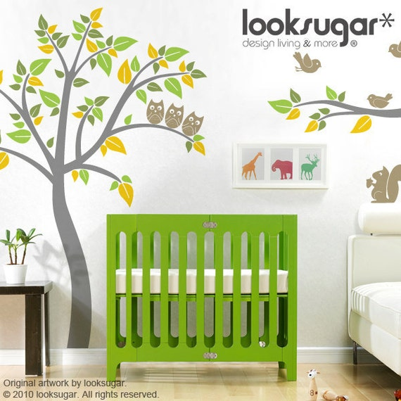 Tree wall decal with birds owl tree wall sticker baby for Bird and owl tree wall mural set