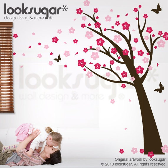 Children Wall Decal - Cherry Blossom Tree Decal - Vinyl Wall Decal - Children wall Sticker - 0037