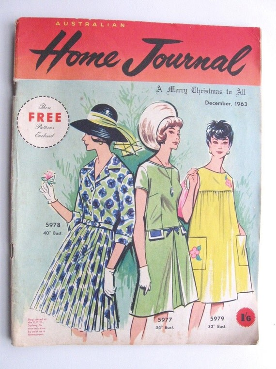 Australian Home Journal with three vintage dress tissue patterns included ... December 1963