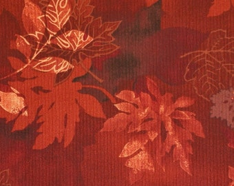 Rusty Brown Leaves, Textured Print Fabric, Hamil Textiles 84665, Autumn Burgundy, Medium Weight, Cotton Polyester Nylon, half yard, B12