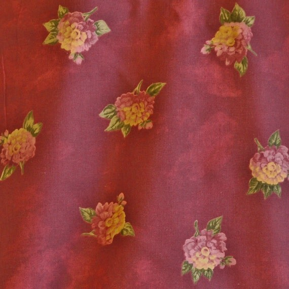 Maroon Pink Floral Print, Quilting Cotton Fabric, Purpe Yellow Hydrangeas, Flowers, half yard, B7