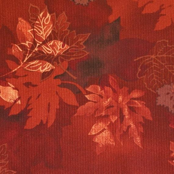Rusty Brown Leaves, Textured Print Fabric, Hamil Textiles 84665, Autumn Burgundy, Medium Weight, Cotton Polyester Nylon, half yard, B12