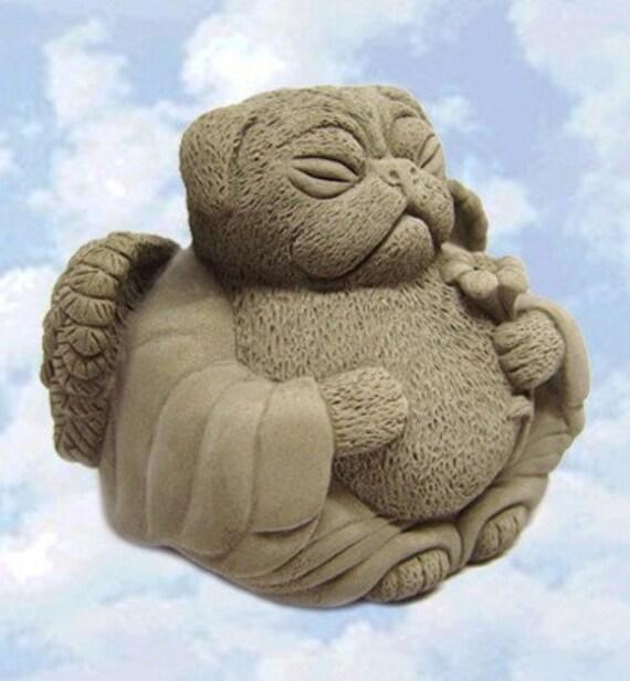 Angel PUG DOG Sculpture Memorial Cast Stone Art by Tyber Katz