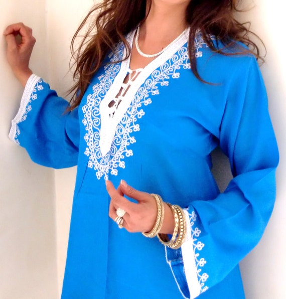 Blue Traditional Marrakech Tunic Shirt- Beautiful Loungewear, Beachwear,Spa wear, Coverup, Birthday, Moroccan tunics, boho, Honeymoon gifts