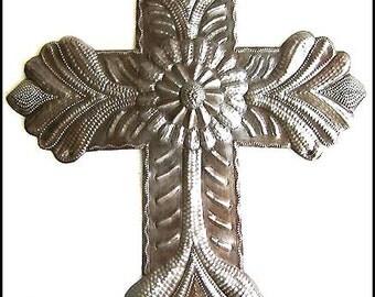 "Cross Metal Wall Hanging - 12"" - Handcrafted Haitian Metal Art  - Metal Cross Wall Decor - Christian Gift - Recycled Steel Drum - W-125-12"