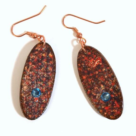 Fall Earrings Lightweight Decoupaged Wood Oval Crystal Brown Light Blue Autumn Jewelry