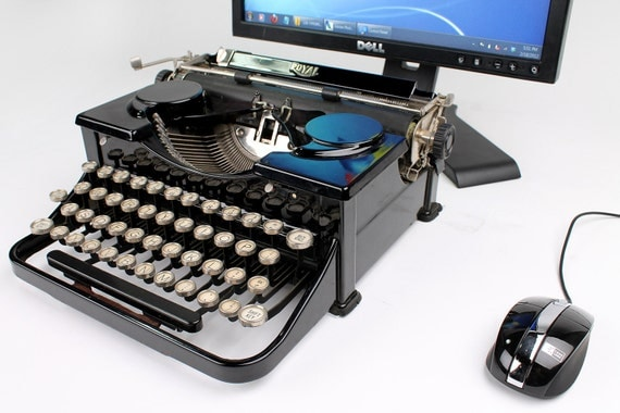 USB Typewriter Computer Keyboard -- Black Royal Portable