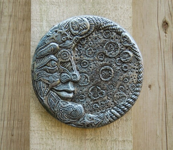 Silver Moon Garden Gift Stone Garden Art, Moon Decor, Moon Wall Art, Outdoor Wall Plaque, Man in the Moon Face