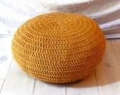 Floor Cushion Crochet - mustard