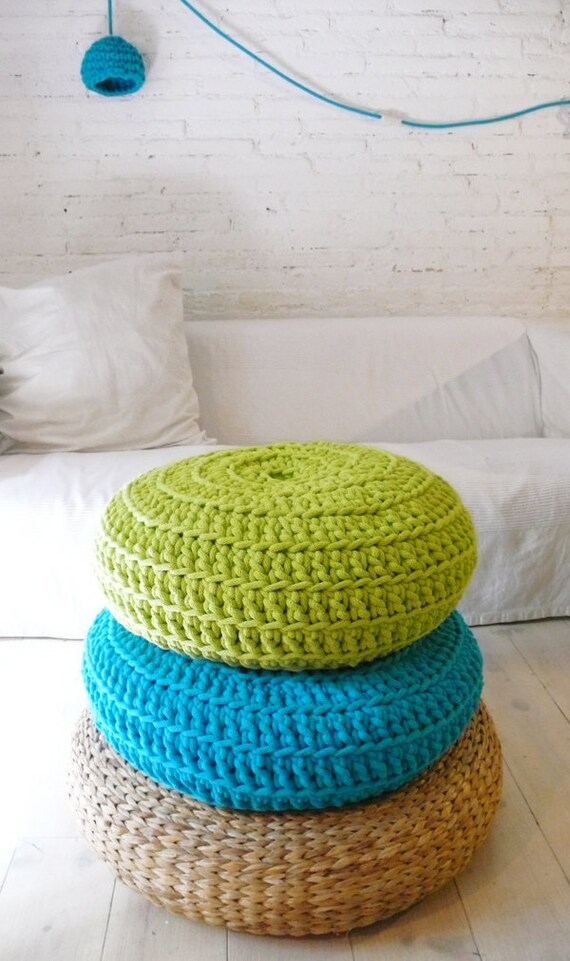 Floor cushion crochet giant knit by lacasadecoto on etsy for Floor knitting