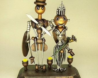 Steampunk Airplane Robot Wedding Cake Topper Sky Captain Aviation Wedding Sexy Flight Attendant Bride Crown Wood Statues Runway Base
