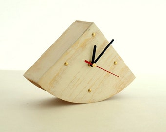 White Wooden clock, Desk Clock Gold points, Rustic style, Shabby chic, White table clock, Unique clock home decor