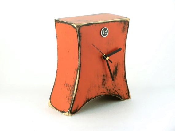 Desk clock, Orange clock, Wooden Clock, Table Clock, Tangerine, Unique gift, Distressed clock, Cottage decor, for mom, Spring decor for home