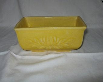 Mid Century Planter/ Ceramic Planter/Yellow Planter/ Mid Century Stoneware/ Made in  USA c. 1950s /Embossed Floral Design/ By Gatormom13