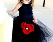 Black Flower Girl Dress---Tulle Skirt---Removable Flowers--Weddings-Birthdays-Tons of Colors