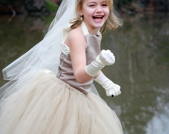 Classic Flower Girl Dress--Tulle Skirt and Satin Halter Top Set----Perfect for Flower Girl Dresses----Many Colors---Mattingly