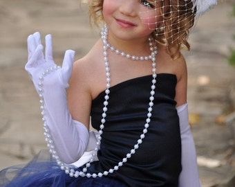 Navy Flower Girl Dress with Tulle Train--Weddings, Pageants,Portraits---Customizable---Vogue