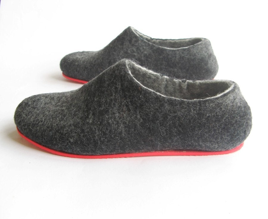 felted wool slippers mens wool shoes rubber by