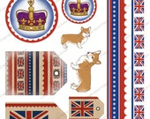 British Digital Collage Sheet - Rule Britannia union jack flag, royal crown, corgi, red, white and blue, printable - Instant Download CS001