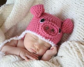Crochet Little Piggy Hat (Newborn)