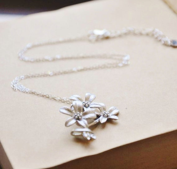 Sterling Silver I Love You Bouquet Flower Necklace
