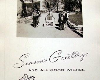 Vintage Photo - Valley Ranch - Seasons Greetings - 1950s - Cowboys and Horses - Photo Christmas Card - Black and White Snapshot