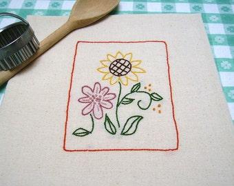 Kitchen Towel - Tea Towel - Dish Towel - Primitive Sunflower - Hand Embroidered Unbleached Cotton Flour Sack - Country Decor