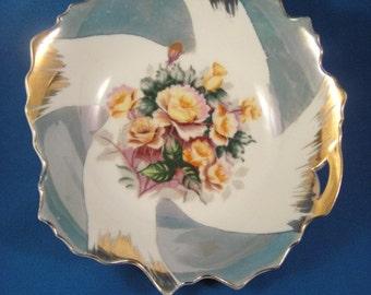 Rose Design Metallic Trim One Handled Bowl Vintage