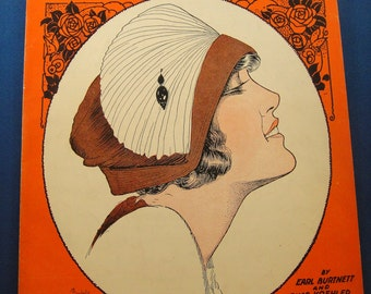 Art Deco Pretty Girl Sheet Music Leave Me With a Smile 1921