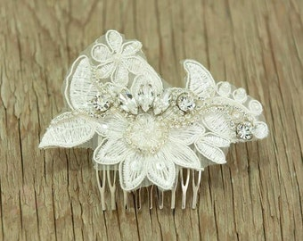 vintage Ivory head piece, Fascinator bridal hair comb,lace wedding hair comb ,wedding hair accessories ,sparkle ,Rhinestones